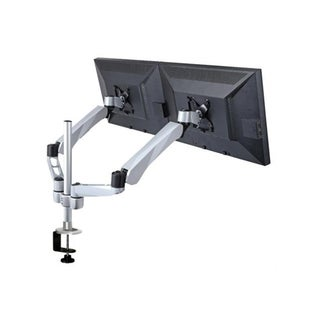 Mount-It! Expandable Two Monitor Computer Desk Mount Spring Arm Quick Release for Apple, VESA and MAC Monitors, Silver