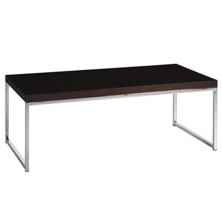 Main St. Coffee Table w/ Wood Grain Top & Reflective Chrome Plated Metal Legs