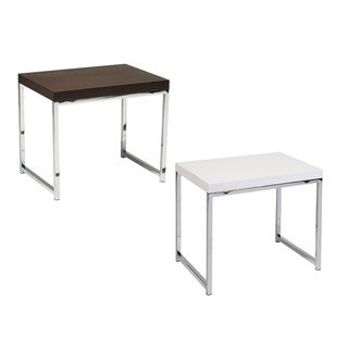 Main St. End Table with Wood Grain Top & Reflective Chrome Plated Metal Legs