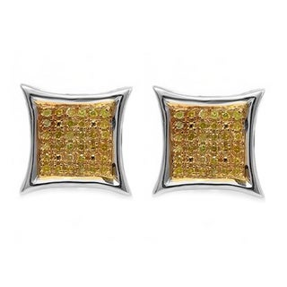 Sterling Silver 1/6ct TDW Yellow Diamond Micro Pave Stud Earrings (I2-I3)