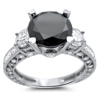Noori 18k White Gold 3 4/5ct Certified Black and White Round Solitaire Diamond Ring (G-H, SI1-SI2)
