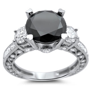 18k White Gold 3 4/5ct Certified Black and White Round Solitaire Diamond Ring (G-H, SI1-SI2)