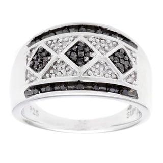 Sterling Silver Black/ White Diamond Accent Fashion Ring