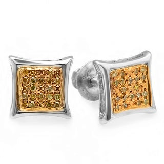 Sterling Silver Two-ton 1/10ct TDW Yellow Diamond Micro Pave Stud Earrings (I2-I3)