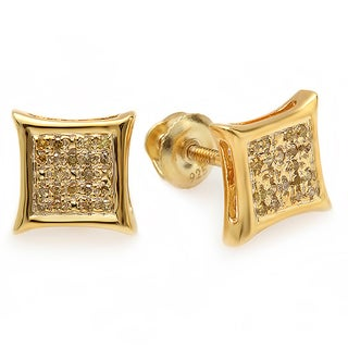 18k Yellow Goldplated Sterling Silver Yellow Diamond Micro Pave Stud Earrings (I2-I3)