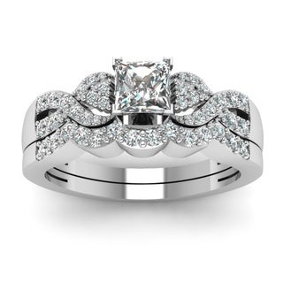 14k White Gold 4/5ct TDW Princess-cut Diamond Polished Braided Bridal Ring Set (H-SI2)