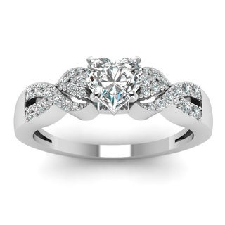 14k White Gold 5/8ct TDW Heart-shaped Diamond Engagement Ring with Round Side Diamonds (H-SI2)