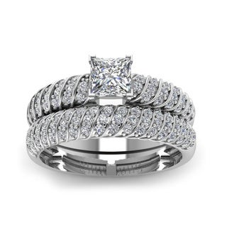 14k White Gold 4/5ct TDW Princess-cut Diamond Bridal Ring Set with Round-cut Side Stones (H-SI2)
