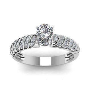 14k White Gold 3/5ct TDW Oval-shaped Diamond Rope Design Engagement Ring with Round Side Stones (H-SI2)