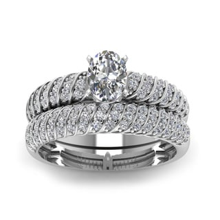 14k White Gold 4/5ct TDW Oval-shaped Diamond Round Side Stone Bridal Ring Set (H-SI2)