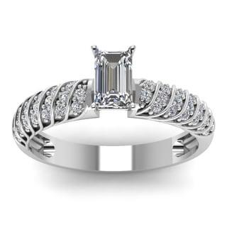 14k White Gold 3/5ct Emerald-cut Diamond Rope Design Engagement Ring (H-SI2)