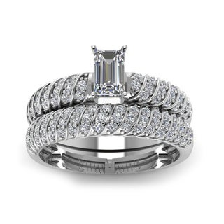 14k White Gold 4/5ct Emerald-cut Diamond Rope Design Polished Bridal Ring Set (H-SI2)