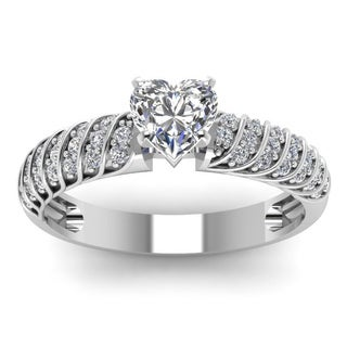 14k White Gold 1/2ct TDW Heart-shaped Diamond Rope Design Polished Engagement Ring (H-SI2)