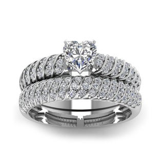 14k White Gold 4/5ct TDW Heart-shaped Rope Designed Diamond Bridal Ring Set (H-SI2)