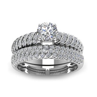 14k White Gold 4/5ct TDW Round-cut Rope Design Bridal Ring Set (H-SI2)