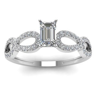 14k White Gold 5/8ct TDW Emerald-cut Diamond Engagement Ring with Side Round-cut Diamonds (H-SI2)