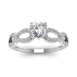 14k White Gold 5/8ct TDW Heart-shaped Oval-band Diamond Polished Engagement Ring (H-SI2)