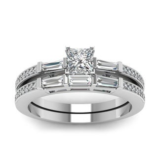 14k White Gold 3/4ct TDW Princess-cut Diamond 3-stone Bridal Ring Set (H-SI2)