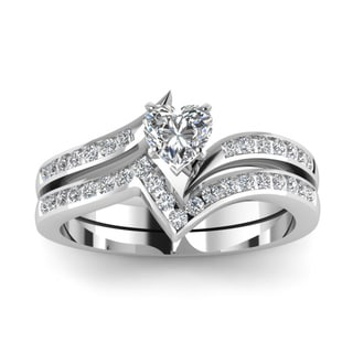 14k White Gold 5/8ct TDW Heart-shaped Diamond Engagement Bridal Ring Set (H-SI2)