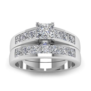 14k White Gold 1 1/5ct TDW Princess-cut Diamond Grid Channel-set Bridal Ring Set (H-SI2)