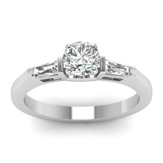14k White Gold 1/2ct TDW Round-cut Baguette Accented Diamond Engagement Ring (H-SI2)