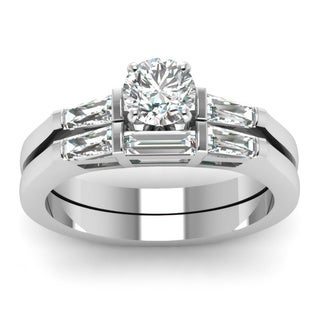 14k White Gold 7/8 Round-cut Diamond Tapered Engagement Bridal Ring Set (H-SI2)