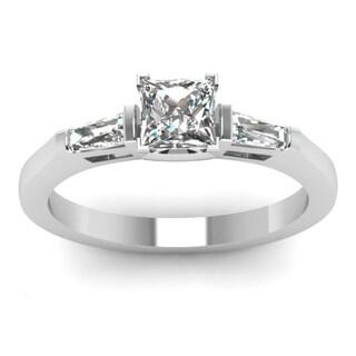 14k White Gold 1/2ct TDW Princess-cut 3-stone Engagement Ring (H-SI2)