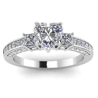 14k White Gold 1ct TDW 3-stone Heart-shaped Diamond Engagement Ring (H-SI2)