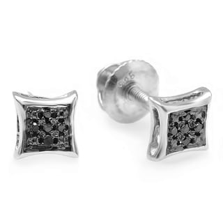 Sterling Silver Black Diamond Accent Micro Pave Stud Earrings