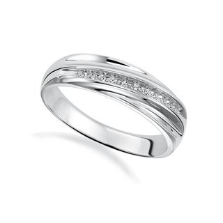 Cambridge Men's Sterling Silver 1/10ct TDW Diamond Wedding Band (I-J, I2-I3)