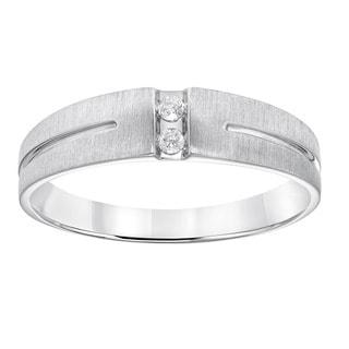 Cambridge Men's Sterling Silver Diamond Accent Wedding Band