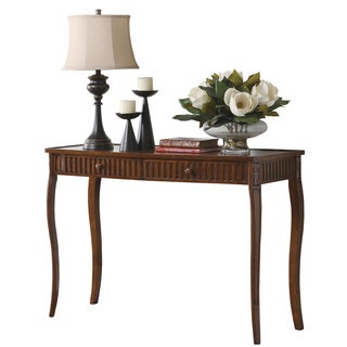 Cherry Finish Glass Inlay Top 2-drawer Sofa Table