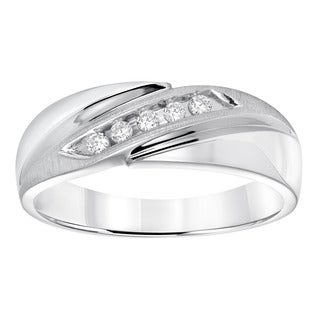Cambridge Sterling Silver 1/8ct TDW Men's Diamond Wedding Band (I-J, I2-I3)