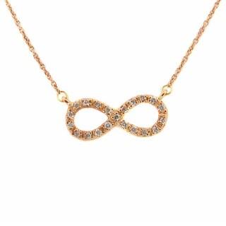 Kabella Jewelry 14k Rose Gold 1/10ct TDW Diamond Infinity Necklace (I-J, I1-I2)