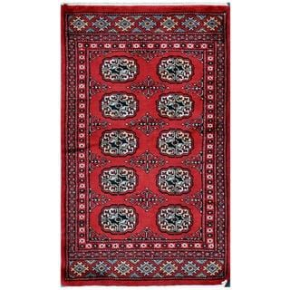 Pakistani Hand-knotted Tribal Bokhara Red/ Ivory Wool Rug (2'1 x 3'4)