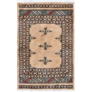 Pakistani Hand-knotted Tribal Bokhara Tan/ Black Wool Rug (2' x 3'1)