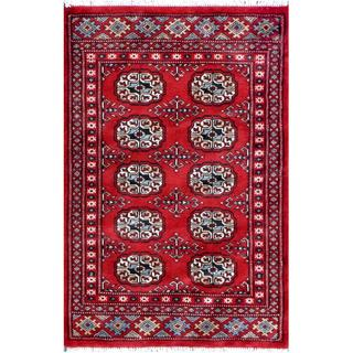 Pakistani Hand-knotted Tribal Bokhara Red/ Ivory Wool Rug (2'3 x 3'2)