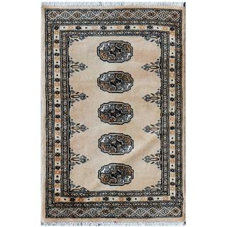Pakistani Hand-knotted Tribal Bokhara Tan/ Ivory Wool Rug (2' x 3')
