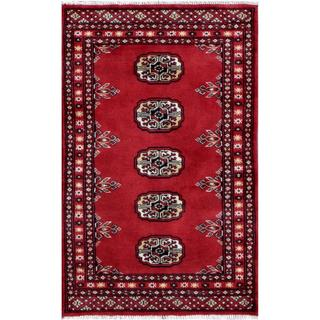 Pakistani Hand-knotted Tribal Bokhara Red/ Ivory Wool Rug (1'11 x 3'1)