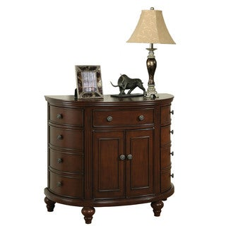 Medium Brown Finish Demilune Accent Cabinet