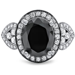 Noori 18k White Gold 2 7/8ct Oval-cut Black and White Diamond Halo Vintage Style Ring (G-H, SI1-SI2)