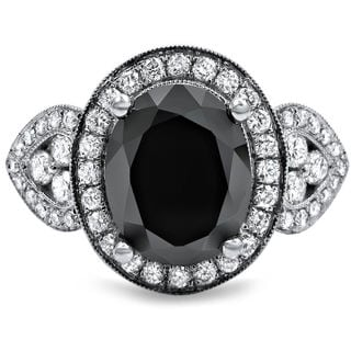 18k White Gold 2 7/8ct Oval-cut Black and White Diamond Halo Vintage Style Ring (G-H, SI1-SI2)