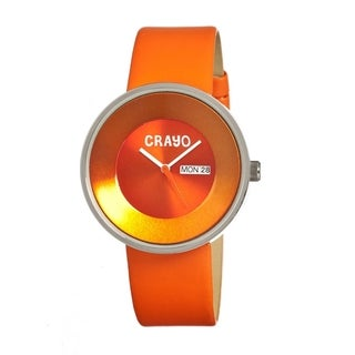 Crayo Men's Button Orange Leather Analog Watch