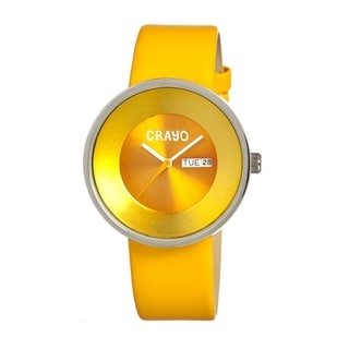 Crayo Men's 'Button' Yellow Leather Analog Watch