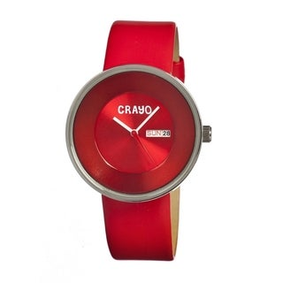 Crayo Men's Button Red Leather Red Analog Watch