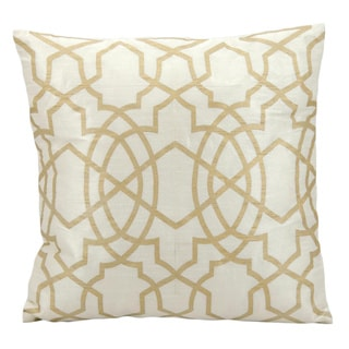 Michael Amini Lattice Ivory/Gold Throw Pillow (18-inch x 18-inch) by Nourison