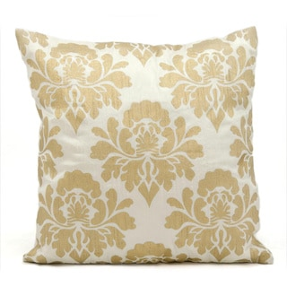 Michael Amini by Nourison Ivory / Gold Throw Pillow (18-inches Square)