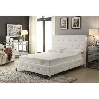 Aloe Vera 8-inch Queen-size Memory Foam Mattress and White Frame Set