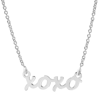 Sterling Essentials Silver XOXO Word Necklace