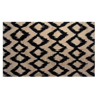 Jute/ Cotton Navy Ikat Printed Area Rug (5' x 7')